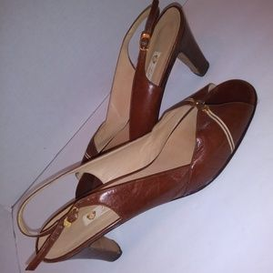 Gucci brown vintage slingback peep toe shoes